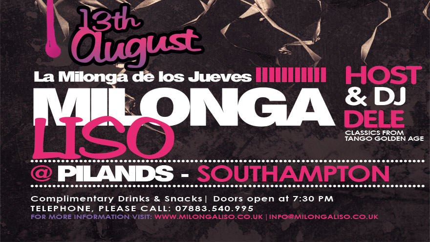 Milongaliso at Pilands, Thursday, August 13th
